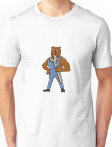 Bulldog Mechanic Holding Wrench Cartoon Unisex T-Shirt