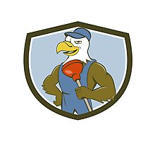 Bald Eagle Plumber Plunger Crest Cartoon Photographic Print