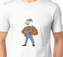 Bald Eagle Plumber Plunger Isolated Cartoon Unisex T-Shirt