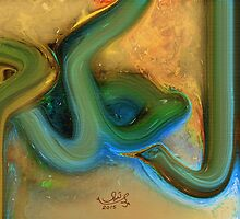 Al Hakam Allah name Abstract Painting by HAMID IQBAL KHAN