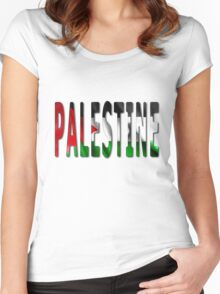 Palestine Word With Flag Texture Women's Fitted Scoop T-Shirt