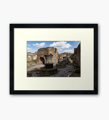Ancient Pompeii - Bakery of Modestus Millstones and Bread Oven Framed Print