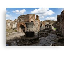 Ancient Pompeii - Bakery of Modestus Millstones and Bread Oven Canvas Print