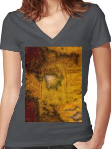 Brown and Orange Grungy Abstract Pattern Women's Fitted V-Neck T-Shirt