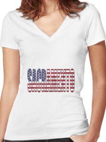 Sacramento. Women's Fitted V-Neck T-Shirt