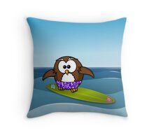 surfer owl Throw Pillow