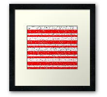 Red White Stripe Patchy Marble Pattern Framed Print