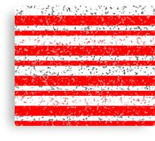 Red White Stripe Patchy Marble Pattern Canvas Print