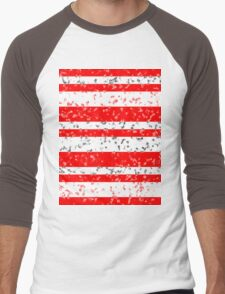 Red White Stripe Patchy Marble Pattern Men's Baseball ¾ T-Shirt