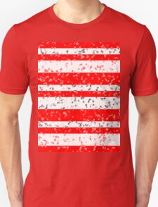 Red White Stripe Patchy Marble Pattern T-Shirt