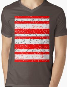 Red White Stripe Patchy Marble Pattern Mens V-Neck T-Shirt