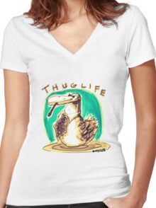 cartoon style cool duck thuglife Women's Fitted V-Neck T-Shirt