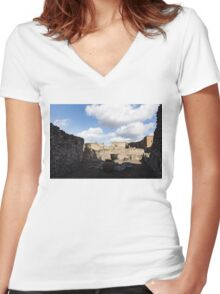 Ancient Pompeii - a Bakery in the Deep Shadows Women's Fitted V-Neck T-Shirt