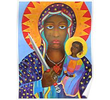 Black Madonna Poland. Black Madonna artwork from Poland. Polish Madonna print. Polish Madonna artist. Polish Black Madonna.  Black Virgin painting portrait, Our black Lady art. Religious painting Poster