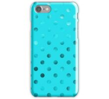 Teal Blue Metallic Faux Foil Polka Dot Pattern Dots Background iPhone Case/Skin