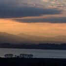 Sunset over Lago Chiusi in panorama From Vaiano, Umbria, Italy by Andrew Jones