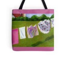 Laundry on the Line: Original Pastel Art, Country Summer Tote Bag