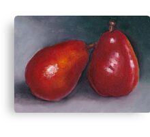 Pair of Red Pears: Oil Pastel Art, Kitchen or Restaurant Decor Canvas Print