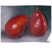 Pair of Red Pears: Oil Pastel Art, Kitchen or Restaurant Decor Poster