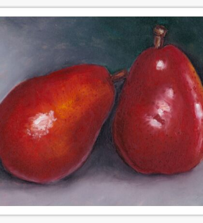 Pair of Red Pears: Oil Pastel Art, Kitchen or Restaurant Decor Sticker
