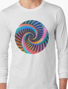 Opposing Spiral Pattern in 3-D Long Sleeve T-Shirt