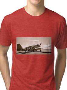 Tuskegee P-51 Mustang Vintage Fighter Plane Tri-blend T-Shirt
