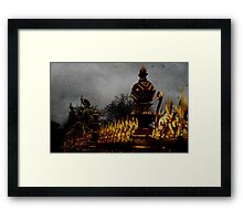 Golden Fence in the rain Framed Print