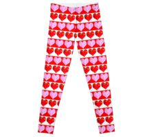 Striped Heart Pattern Leggings