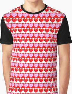 Striped Heart Pattern Graphic T-Shirt