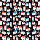 Graphic pattern with different houses by Tanor