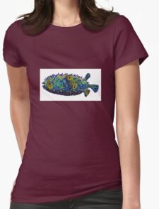 Psychedelic pufferfish Womens Fitted T-Shirt