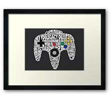 N64 Controller - Typography  Framed Print
