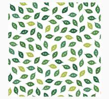 Dean's Block Print Leaves ~ Green Kids Tee