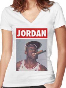 Michael Jordan (Championship Cigar) Women's Fitted V-Neck T-Shirt