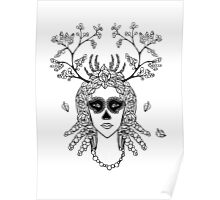 Santa Muerte. Portrait of young woman with skeleton make-up and flower wreath with berries black and white hand drawn illustration. Poster