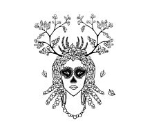 Santa Muerte. Portrait of young woman with skeleton make-up and flower wreath with berries black and white hand drawn illustration. Photographic Print