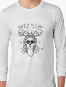 Santa Muerte. Portrait of young woman with skeleton make-up and flower wreath with berries black and white hand drawn illustration. Long Sleeve T-Shirt