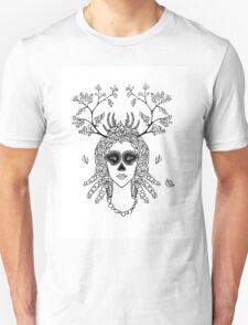 Santa Muerte. Portrait of young woman with skeleton make-up and flower wreath with berries black and white hand drawn illustration. Unisex T-Shirt