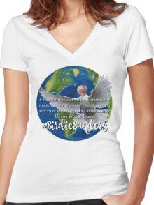 #BirdieSanders Funny Bernie Sanders Birdie Sanders Democrat World Peace Planet Earth Dove 2016 #FeelTheBird #FeelTheBern Women's Fitted V-Neck T-Shirt