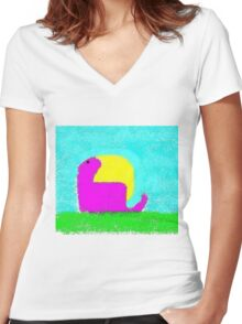 Dino by Ken Yu Women's Fitted V-Neck T-Shirt