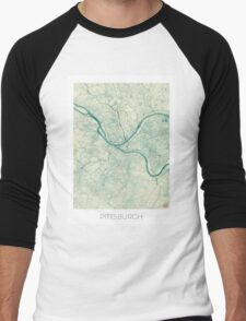 Pittsburgh Map Blue Vintage Men's Baseball ¾ T-Shirt