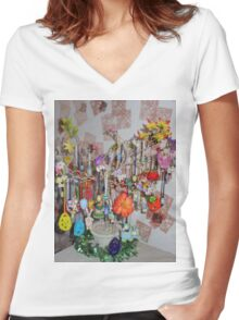 Easter Greeting Women's Fitted V-Neck T-Shirt