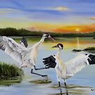 Sunrise Whooping Cranes by Phyllis Beiser