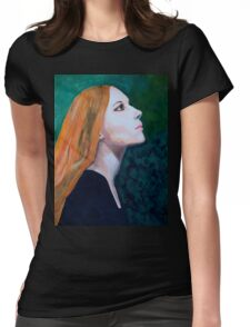 Girl Portrait Acrylic Painting Womens Fitted T-Shirt