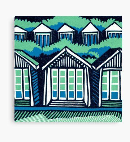 Beach Huts - Blue & Turquoise Canvas Print