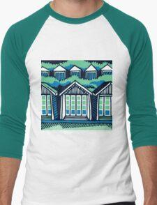 Beach Huts - Blue & Turquoise Men's Baseball ¾ T-Shirt