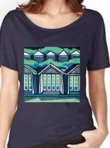Beach Huts - Blue & Turquoise Women's Relaxed Fit T-Shirt