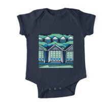 Beach Huts - Blue & Turquoise One Piece - Short Sleeve