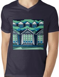 Beach Huts - Blue & Turquoise Mens V-Neck T-Shirt