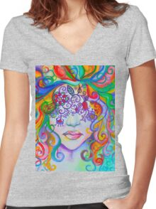 Color Blind Women's Fitted V-Neck T-Shirt
